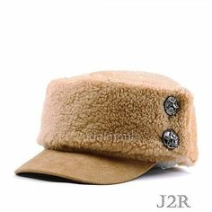 Winter Army Hats Cadet Military Hat for Men Women Unisex Warm Caps (Brown)