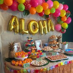 Raley has been telling me for nearly a year that she wants a Lilo and Stitch bir. Raley has been telling me for nearly a year that she wants a Lilo and Stitch birthday party. Birthday Party Table Decorations, Luau Theme Party, Aloha Party, Hawaiian Luau Party, Moana Birthday Party, Hawaiian Birthday, 13th Birthday Parties, Birthday Party Tables, Luau Birthday