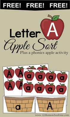 This is a post by Free Homeschool Deals contributor, Beth at 123 Homeschool 4 Me. Preschoolers will love practicing sorting the letter apples Preschool Apple Theme, Fall Preschool, Preschool Letters, Preschool Curriculum, Preschool Lessons, Learning Letters, Preschool Classroom, Preschool Learning, Preschool Activities