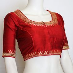 Designer saree blouse with thread embroidery and stone work Designer saree blouse with thread embroidery and stone work<br> Wedding Saree Blouse Designs, Saree Blouse Neck Designs, Simple Blouse Designs, Blouse Simple, Saree Blouse Patterns, Mirror Work Blouse Design, Mirror Work Saree Blouse, Sari Bluse, Designer Blouse Patterns