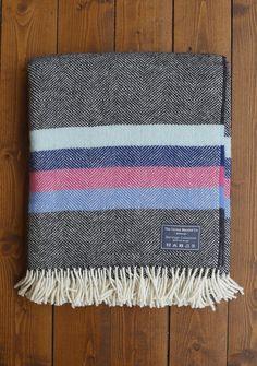 Heritage Lifestyle Blanket New Wool Charcoal Pink Multi Stripe | The Tartan Blanket Co.