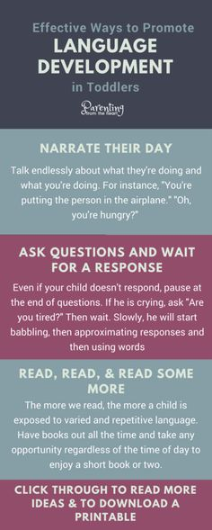 6 Ways To Promote Language Development in Toddlers Here are six ways to promote language development in toddlers and young children They re simple strategies that work languagedevelopment parenting parentingtoddlers Toddler Language Development, Baby Development Chart, Child Development, Parenting Articles, Parenting Hacks, Toddler Speech, Toddler Class, Toddler Stuff, Kid Stuff