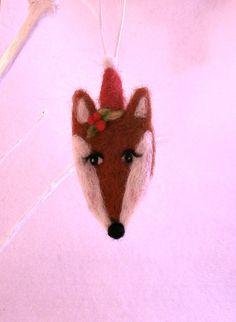 Needle Felted Fox Ornament bauble vintage wool by jessicakat, £4.50 #ornament #needlefelted #bauble #fox