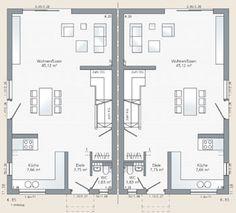 Grundriss Erdgeschoss vom #Doppelhaus Aura 125 | Inspirationen ...