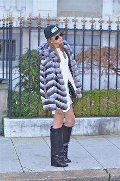 Chinchilla coat and Givenchy boots