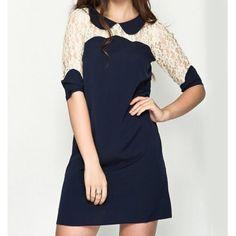 Lace Splicing Peter Pan Collar Half Sleeve Chiffon Preppy Style Women's Dress