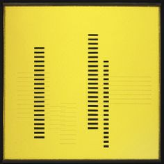 Josef Albers (American, b. Germany, 1888-1976). Skyscrapers on Transparent Yellow, ca. 1929. Sandblasted flashed glass with black paint. 13 7/8 x 13 7/8 in. (35.2 x 35.2 cm). Photo © Tim Nighswander/Art Resource, NY.