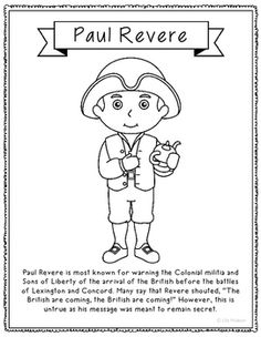 paul revere coloring page - african american inventors coloring color sheet black