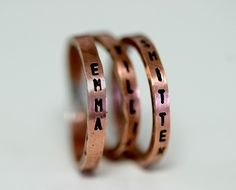 Child's Name Copper Rings Personalized  Set by monkeysalwayslook, $52.00