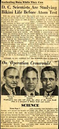 A Washington Post article from March 21, 1946, discussing Schultz and Morrison's work with Operation Crossroads. Clipping from Smithsonian Institution Archives.