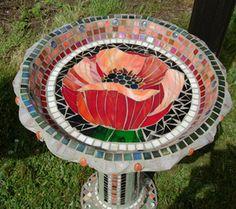 Showcase Mosaics Photos of Mosaic Birdbaths, Tables and Sculpture - Showcase Mosaics