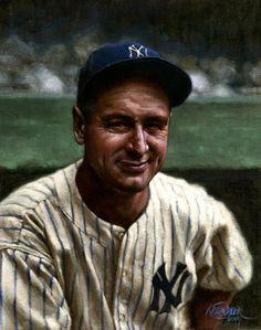 MLB legend Lou Gehrig was born on June 1903 (painting via Graig Kreindler). Baseball Painting, Baseball Art, Baseball Stuff, Baseball Photos, Sports Baseball, Lou Gehrig, My Yankees, New York Yankees, Famous Baseball Players