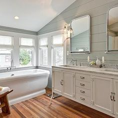 Avenue B - bathrooms - white sheers, white sheer roman shade, shiplap bathroom walls, wood paneled bathroom walls,pedestal bathtub