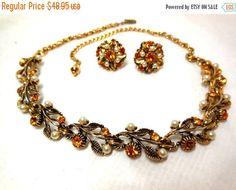 FALL SALE 50s DEMI Necklace Earrings Gold Flowers by JewlsinBloom
