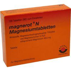 MAGNEROT N Magnesiumtabletten:   Packungsinhalt: 100 St Tabletten PZN: 06963343 Hersteller: Wörwag Pharma GmbH & Co. KG Preis: 4,82 EUR…