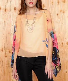 Loving this Peach Floral Sheer Cape-Sleeve Top on #zulily! #zulilyfinds