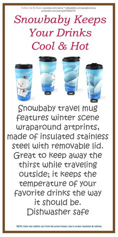 'Snowbaby on Sparkling Ice' Travel Mug by We ~ Ivy Presents For Friends, My Themes, Website Themes, Good Cause, Sparkling Ice, Travel Mugs, Winter Scenes, Ivy, Snowman