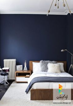 غرف نوم مودرن باللون الازرق 2015