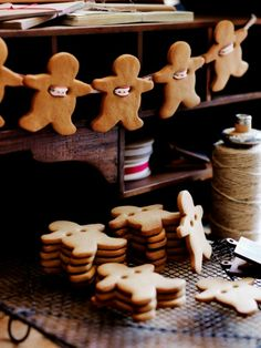 ★ ☆ ★ Gingerbread Garland ★ ☆ ★   When baking the gingerbread, poke 2 holes near the arm areas. After cooling , thread your choice of string or ribbon through the holes of the cookie and hang on a mantel, in the tree, over a window ... etc...