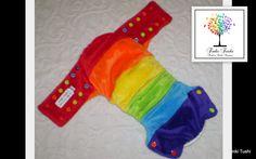 Side Snap OSFM Modern Cloth Nappy with Rainbow Spliced Minky