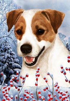 Jack Russell   Best Of Breed Winter Berries Garden Flag