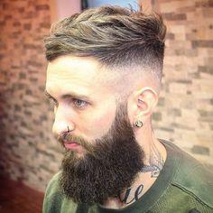 lumberjack hairstyle with long beard