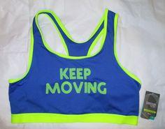 Item ID: 381971701185 Women's Size XL (16/18) DANSKINS Core Sports Bra Blue/Acid Yellow Accent NWT #Danskin