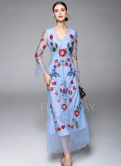 Dresses - $102.19 - Polyester Floral Long Sleeve Maxi Casual Dresses (1955098425)