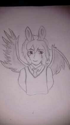 A drawing of Human Flying Mint Bunny. Should i color it?