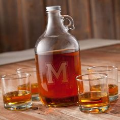 DETAILS: Personalized Whiskey Growler Set (includes 4 whiskey glasses)SIZE: 1-64oz Growler, 4-12oz W