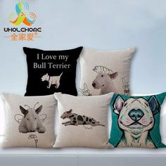 Cover Dog Cushion Print Bull Terrier Pillow Brown White Photo Tan Close Pit