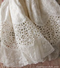 A beautiful piece of eyelet lace with French lace border.