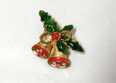 Christmas Bells Brooch Vintage 60s red green Enamel Holly Gold