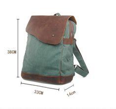 Canvas Bag / Backpack Superior Genuine Cow Leather Briefcase / Messenger Bag / 14' 15' MacBook Bag ( m832-1 ) - Thumbnail 2