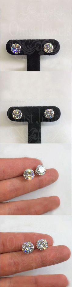 Synthetic Moissanite 110800: 3.80Ct Round Forever Moissanite Stud Earring Back Screw 14K White Gold Finish -> BUY IT NOW ONLY: $109.99 on eBay!