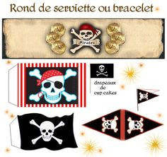 FREE images to print pirate party cake topper napkin ring bottle wrap flags etc etc Deco Pirate, Pirate Theme, Decoration Pirate, Teach Like A Pirate, Party Fiesta, Pirate Birthday, Party Printables, Party Time, Birthday Parties