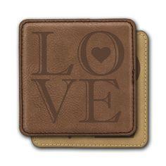 Square Leather Coasters (6) - LOVE