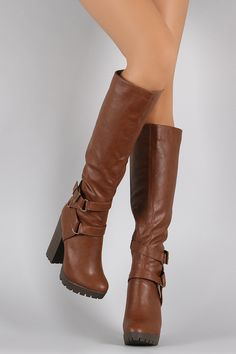 Breckelle Buckle Sequence Stacked Heel Boots