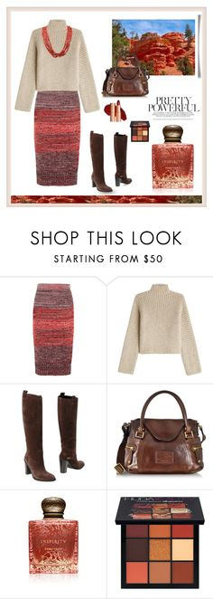 """""""Red Rock Melange"""" by wildersouthwest ❤ liked on Polyvore featuring Burberry, Rosetta Getty, Gucci, The Bridge, Inspiritu and Huda Beauty"""