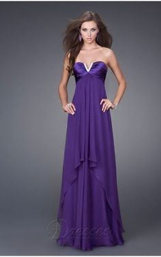 Purple Empire V-Neck and Strapless Lace Up Floor Length Evening Dresses  With Ruffles Purple e5e2af86e8eb