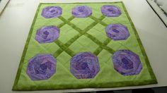 Roses For Mom Vase Mat 13 square.  Lavender by Quiltbuilders