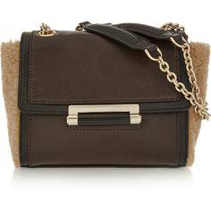Diane von Furstenberg 440 leather and shearling shoulder bag (2.581.940 IDR) ❤…