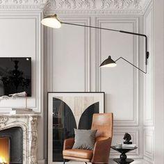 Modern French Interiors, Modern Interior, Home Interior Design, Interior Decorating, Neoclassical Interior Design, Flur Design, Home Lighting Design, Modern Lighting, Design Apartment