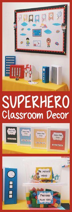 Printable Superhero Themed Classroom Decor by teachingtalking.com