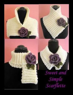 Today I have the pattern for a Sweet and Simple Scarflette for you. It is trimmed with a pretty little rolled rose which begins with an Eyelet Foundation. You can wear the scarflette lots of different