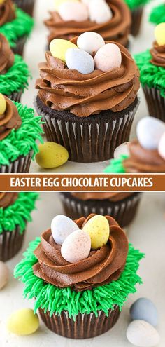 Easter Egg Chocolate Cupcakes - moist chocolate cupcakes topped with chocolate frosting nests and pastel colored Easter eggs! These Easter Egg Chocolate Cupcakes are moist chocolate cupcakes topped with chocolate frosting Easy Chocolate Cupcake Recipe, Easy Cupcake Recipes, Chocolate Cupcakes, Chocolate Frosting, Minion Cupcakes, Easter Cupcakes, Cupcake Cakes, Easy Easter Desserts, Easter Treats