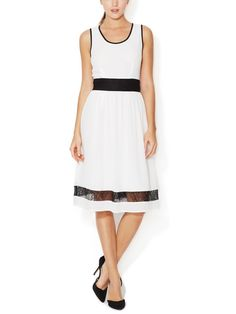 Crepe A-Line Dress with Lace Accents