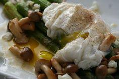 Poached Egg, Roasted Asparagus, Brown Breech Mushrooms & Sherry-Lemon Vinaigrette
