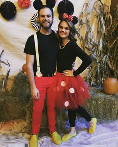 Couples Halloween Costumes: Mickey Mouse & Minnie Mouse halloween costumes 20 Best DIY Couples Halloween Costumes That Can Be Worn in Front of Kids