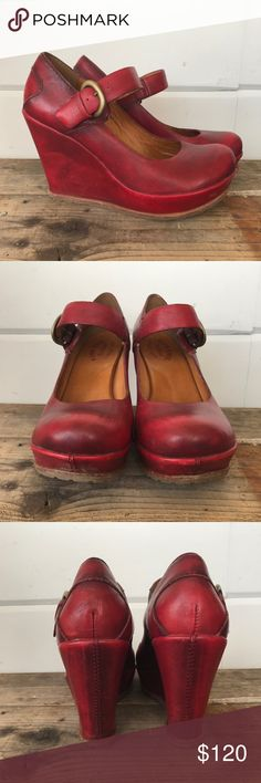 """Ceralucca Red Kork-Ease Yuli Mary Jane wedges No longer in production, hard to find! Kork-Ease wedges in Yuli Mary Jane style, color is """"Ceralucca Red"""". Leather upper and insole, rubber sole in great shape. Brass buckle with adjustable strap. 1"""" platform. Worn indoors maybe three times, in excellent overall condition. Marked size 9/40.5. Kork-Ease Shoes Wedges"""
